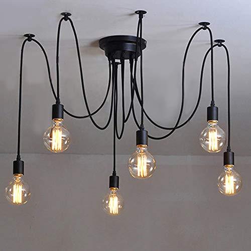 lightess retro vintage spider chandelier luz de techo black e27 luces colgantes industriales diy spider luces de techo con 6 bombillas 1.8 metros ajustables para sala de estar bar y hotel