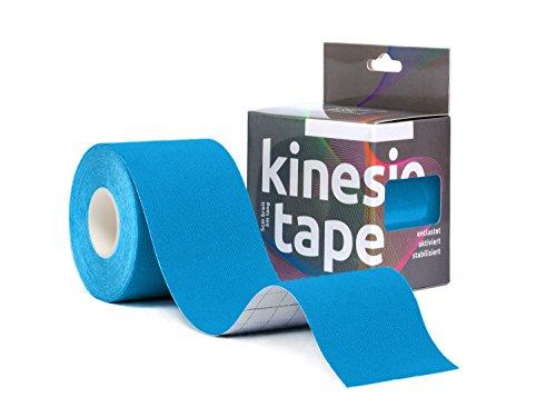 Sportsment Kinesiotape für Sport, Freizeit und Physiotherapie inkl. gratis E-Book (elastisch, hautverträglich, selbstklebend, belastbar, wasserfest) 5 cm x 5 m [Blau]