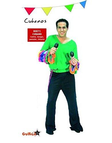 Guirca Disfraz de Cubano / Rumbero / Salsero. Talla única de Hombre. Incluye: Pantalón, Camisa y Cinta de Cintura.