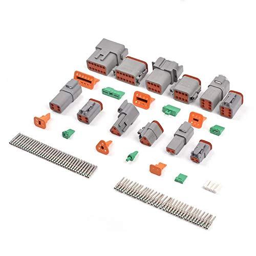 Tamkyo DT Steck Verbinder Kit IP67 Wasserdichter Elektrischer Steck Verbinder Stecker 35 Paar Tonnen F?Rmige Massive Anschluss Stift Buchse 14-16 AWG