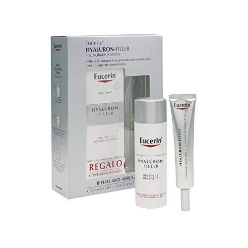 Eucerin Hyaluron Filler Anti Edad - Pack de Crema de Día FPS 15 y Contorno de ojos, 50 + 15 ml