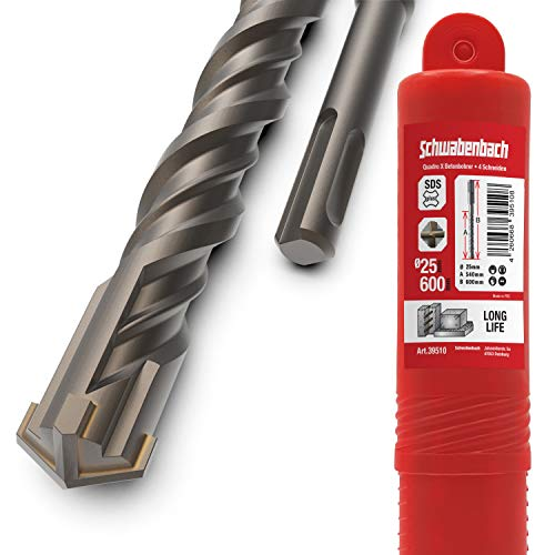SCHWABENBACH ® SDS Plus Drill 25mm x 600 - Foret à béton - Perçage précis et rapide dans le...