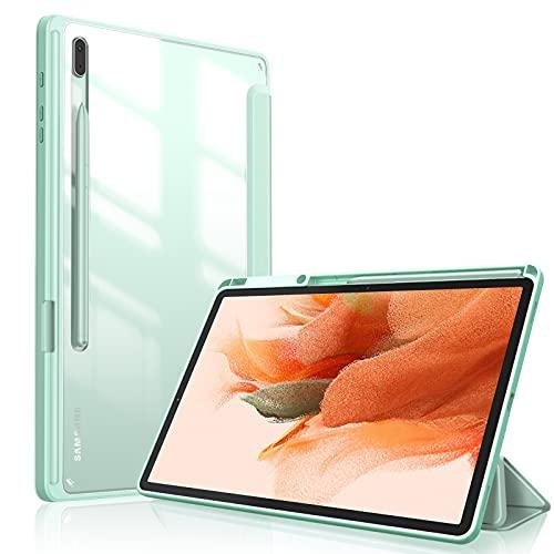 FINTIE Funda Compatible con Samsung Galaxy Tab S7 FE 12,4 2021/Tab S7 Plus 12,4 2020 - [Soporte Integrado para S Pen] Carcasa de Trasera Transparente a Prueba de Choques, Verde Claro