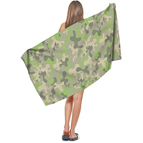 Jiger Indoor/Outdoor Soft Designer Extra Large Bath Towel Plush Quick Dry Absorben Camouflage Paint Camo Printed Sauna Towel 27,5
