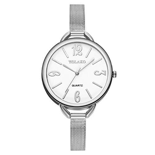 Powzz ornament Reloj digital para mujer Reloj de pulsera de malla Milan Band Reloj de cuarzo de plata