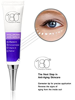 Hyaluronic Acid Eye Serum by 180 Cosmetics - Concentrated Hyaluronic Acid For Precise Application Around the Eyes - Most Effective Anti Aging Serum - For Fine Lines & Crow's Feet - Clinical Strength by 180 Cosmetics