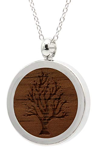 NaturSchatulle Kette mit Anhänger Holz Gravur Baum Halskette Holzanhänger Medaillon Silber 925 Damen Kettenanhänger Amulett Holzschmuck Charms 50cm
