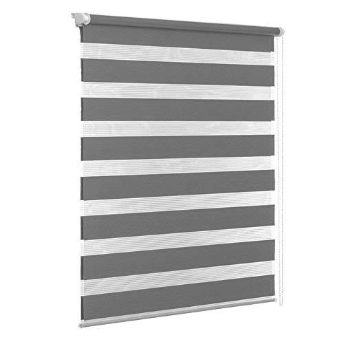 UISEBRT Doppelrollo Klemmfix ohne Bohren 140cm x 175cm für Fenster lichtdurchlässig und verdunkelnd, Grau