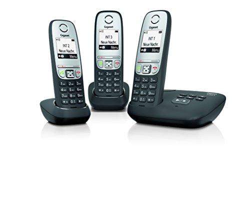 Gigaset A415A Trio Telefon - Schnurlostelefon, drei Mobilteile mit Grafik Display - Dect-Telefon mit Anrufbeantworter, Freisprechfunktion - Analog Telefon - Schwarz