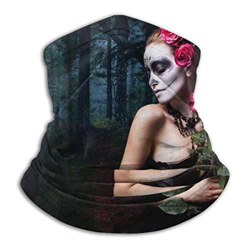 Lawenp Cubierta suave Mujer atractiva Sugar Skull Make Front Neck Polaina Verano Protector solar Polaina Máscara facial ligera para actividades al aire libre