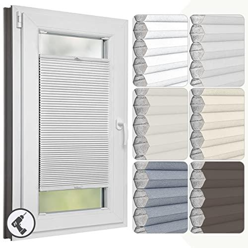 Estika Wabenplissee mit Bohren nach maß, Verdunkelung und Thermo Plissee klemmfix für Fenster in verschiedenen Breiten (30-129 cm) und Höhen (50-149 cm) erhältlich, mit Montagezubehör