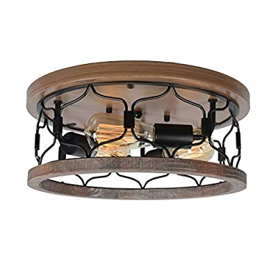 Beuhouz Round Farmhouse Flush Mount Lighting, Black Metal and Wood Rustic Ceiling Light Fixture Industrial Close to Ceiling Wire Cage Light 3 Light Edison E26 8041