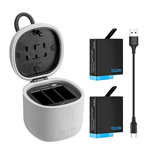 TELESIN Cargador de Batería para GoPro Hero 8/7/6/5 Black, Cargador de 3 Canales (Prueba de Agua) con Lector Tarjeta de Memoria SD, 2 Batería de Repuesto y Cable USB Tipo C (Cargador+2 Batería)