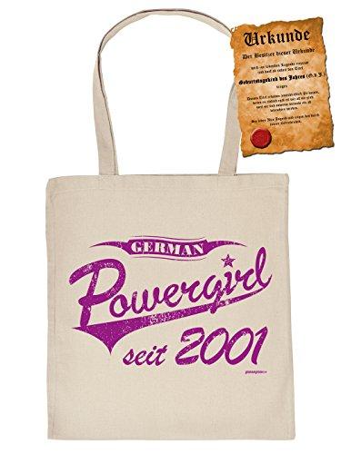 Stofftasche - Einkaufstasche zum Geburtstag: German Powergirl seit 2001 - Im SET mit gratis Urkunde - Farbe: creme
