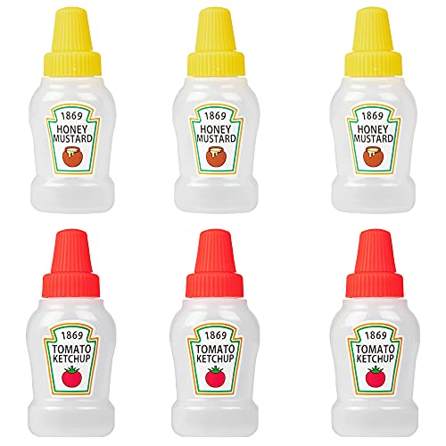 ZIIVARD 6 Pack Mini Condiment Squeeze Bottles Plastic Tomato Ketchup Bottle Cute Squirt Honey Salad Dressing Container Bento Box for Camping Office School,25ml/0.84oz