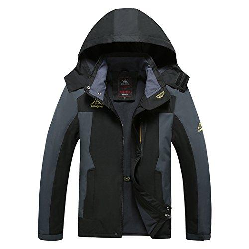 WALK-LEADER Escalade Coupe-Vent imperméable pour Homme Chaud extérieur Manteau - Noir - XXXXX-Large