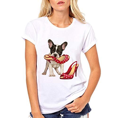 Grea Camiseta de Bulldog francés Camiseta de Manga Corta Camiseta con Cuello o...