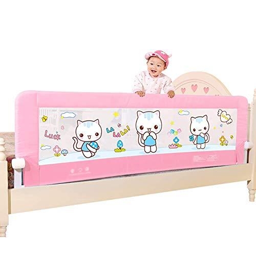 XUE Baby-Bettgitter, Kinder extralange Bettgitter, trinkbares Klappbett für Kleinkinder - Pink (Druckknopfklappbar),180cm