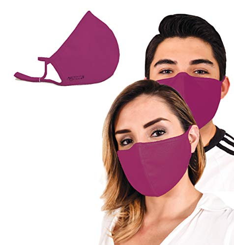 Cloth Face Mask for Protection with BFE99 Built-In Filters; Washable, Reusable & Size-Adjustable (2 Pcs Maroon Adult)