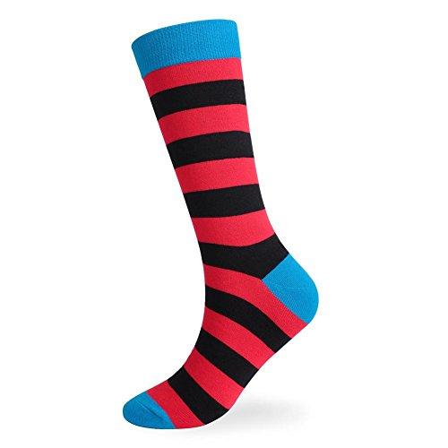 Lmzyan 5 Paires de Chaussettes Rayã©ES de Couleur de Longue Section, Chaussettes absorbantes de Sueur des Hommes, Red and Black, 39-43
