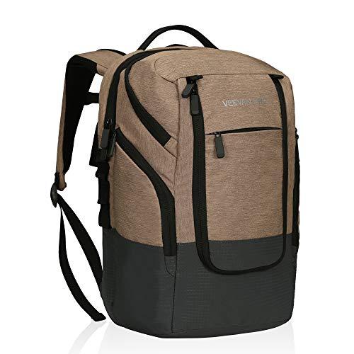 Veevanpro 22L Cooler Backpack 24 Cans Cooler Bag Bolsa de Almuerzo Grande Mochila Impermeable con 15 Pulgadas Compartimiento para computadora portátil para el Trabajo Camping Picnic BBQ Beige