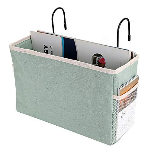 SUMNACON Mesilla de noche para colgar bolsillos de cama, cestas para dormitorio, organizador de escritorio para casa, oficina, escuela, dormitorio, litera (verde)