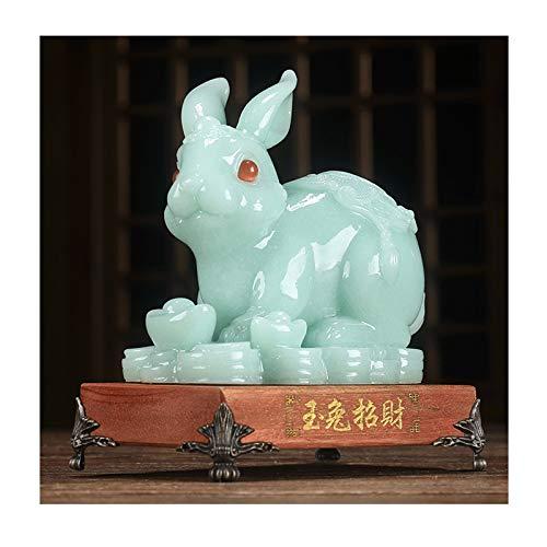 Decoraciones de interiores de oficinas Zodiaco feng shui estatua animal conejo escultura casa sala de estar vino gabinete de vino gabinete de la televisión decoraciones artesanía colección Estatua de