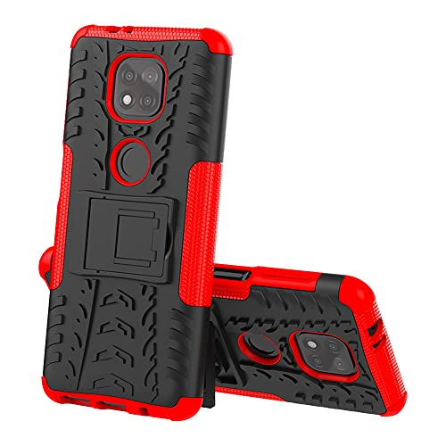 GARITANE Funda Compatible con Motorola Moto G Power 2021,Híbrida Rugged Armor Case Back Cover Choque Bumper Carcasa con Kickstand (Rojo)