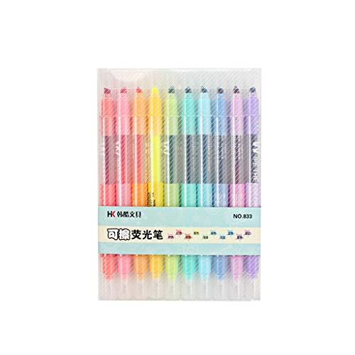 Lazder - Rotuladores fluorescentes de doble punta borrables (10 unidades), color pastel
