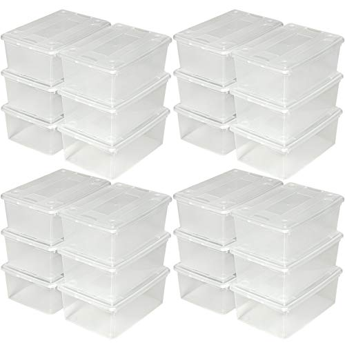 TecTake Schuhbox mit Deckel stapelbar transparent Aufbewahrungsbox | 33x23x12cm | - Diverse Mengen - (4X 6er Set | Nr. 402006)