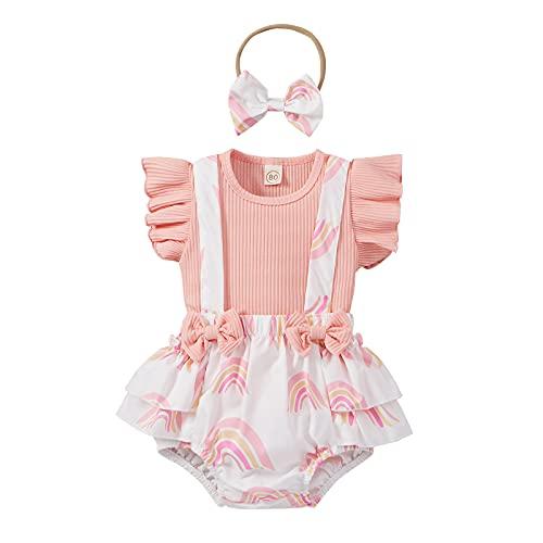 VIENNAR Blusa y pantalones cortos con volantes para bebés de 0 a 18 meses