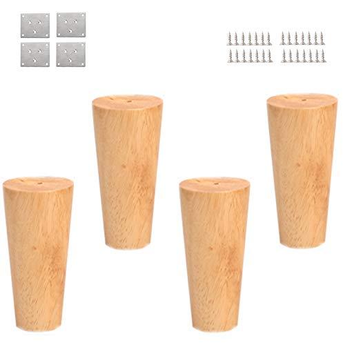 HWJ meubelpoten 4 inch/10 cm, 4 poten, standaard van massief hout, geschikt voor bank, tafel, kast, bed