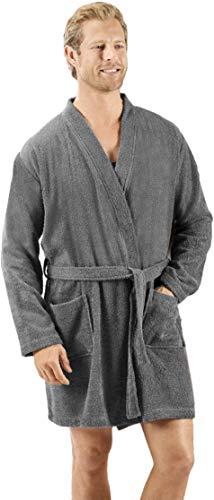 MIOMARE® Herren Bademantel, kurz Kimono-Länge - 100% Baumwolle (grau, XL 56/58)