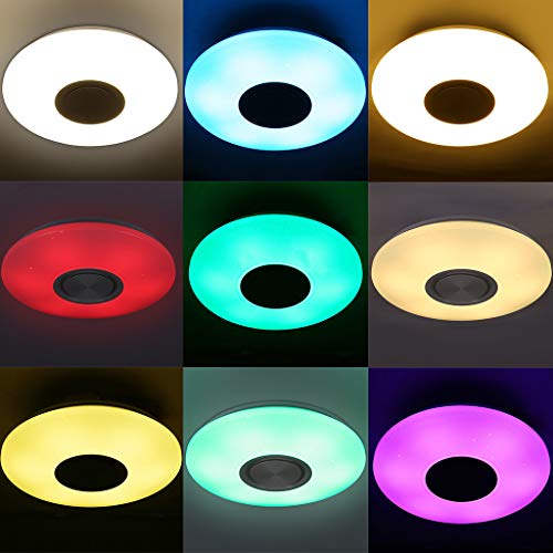 LED Music Ceiling Light with Bluetooth Speaker 60W, Upgraded Modern Light Fixtures with 3000K / 4000K / 6500K RGB Color Changing, Family Party Star Lights Kids(Remote Includes)