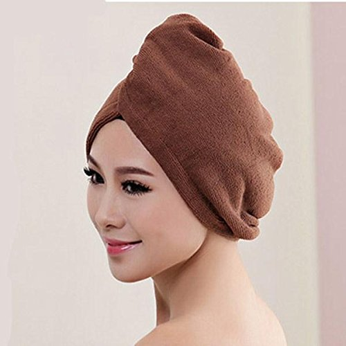WANGSOAR Magic Microfiber Water Absorbing Hair Dry Turban Wrap Towel Bathing Shower Cap (60cm 25cm) Brown