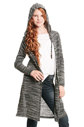 Truly Me, Big Girl's Long Sleeve Fashion Sweater Knit Cardigan with Hood, Size 7-16 (Heather Grey, 12)