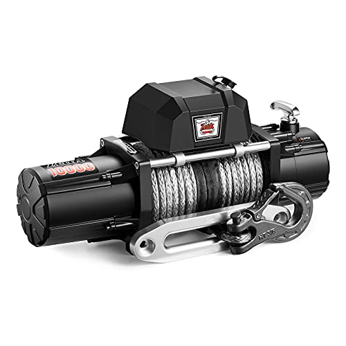 ZEAK 10000lb. Electric Truck Winch Synthetic Rope 12V, for SUV Trailers Offroad, Waterproof