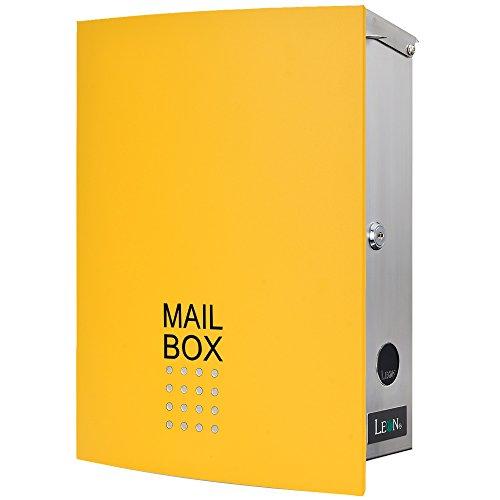 LEON (レオン) MB4504ネオ 郵便ポスト 壁掛けタイプ ステンレス製 鍵付き おしゃれ 大型 ポスト 郵便受け (マグネット付き) イエロー