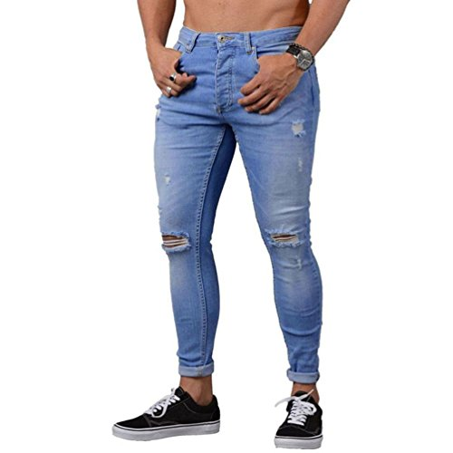 Btruely Herren Hosen Demin Jogger Jeans Slim Fit Mode Hiphop Streetwear Dünn Hosen Männer Hosen Motorcycle Troursers Slacks Sweatpants (M, Blau)