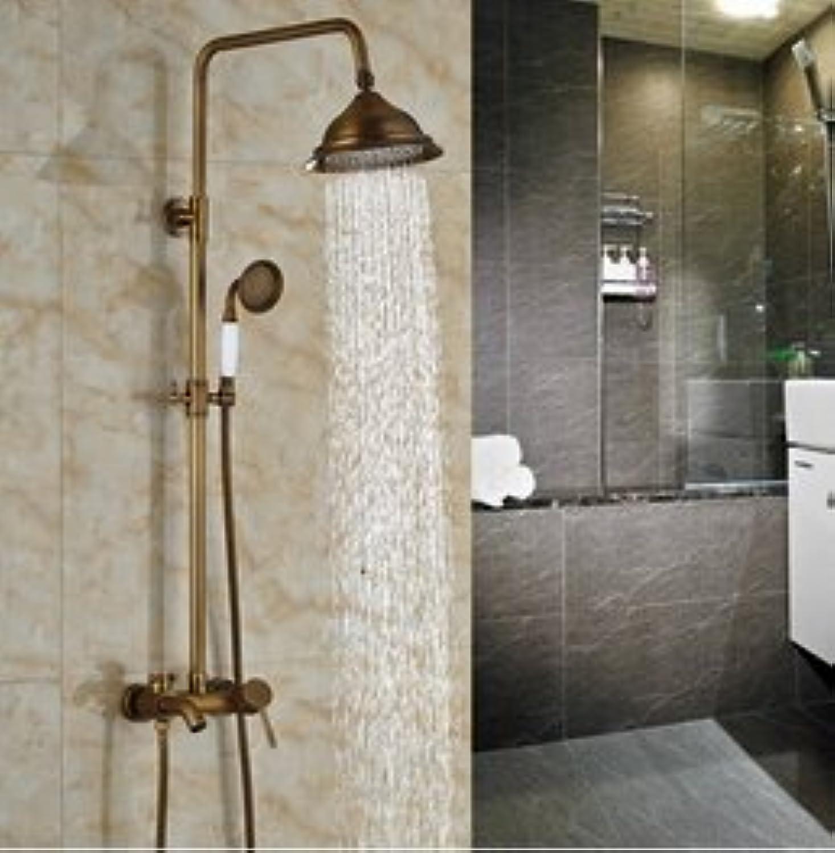Luxurious shower Wall Mount 8  Messing Regendusche Hahn eingestellt ist, um einen Griff Wanne Dusche Wasserhahn Handdusche Feldspritze, Schokolade