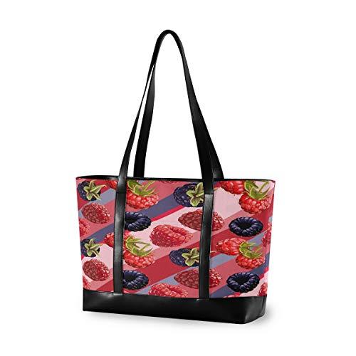 CPYang Laptop-Tasche, 39,6 cm (15,6 Zoll), Raspberry-Streifen-Muster, Canvas, Schultertasche, große Handtasche, für Arbeit, Business, Schule, Reisen