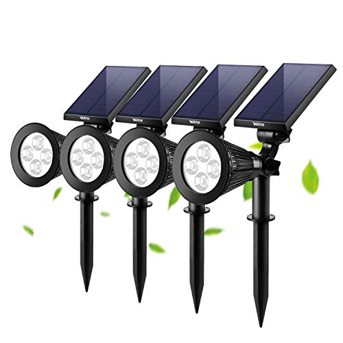 Wilktop 4x LED Solar Strahler Gartenleuchten Warmweiß Landscape Spotlight für Garten Beleuchtung