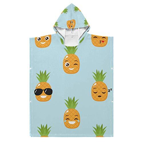 LENNEL Peignoir de Bain Cape Soft 35.43x27.55 Pouces Serviette de Plage à Capuche Coton Fun Kids pour Piscine Hot Spring Water Park Funny Ananas