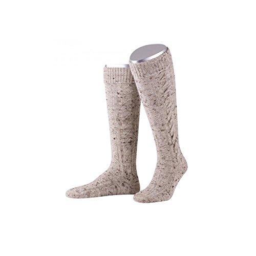 ALMBOCK Tracht Strümpfe für Herren - bayerische Zopfstrümpfe in beige und lang in Größe 40-47 - Männer Trachten Socken fürs Oktoberfest