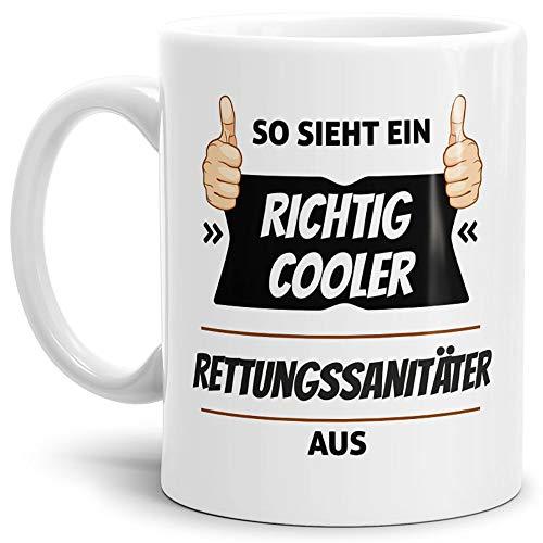 Tassendruck Berufe-Tasse so Sieht EIN Richtig Cooler Rettungssanitäter aus Weiss/Job/mit Spruch/Kollegen/Arbeit/Geschenk-Idee/Büro