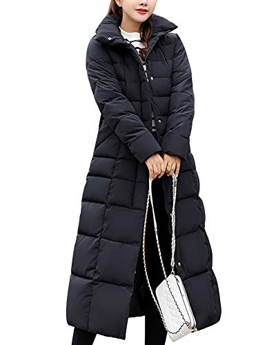 Femme Doudoune Manteau Longue Hiver Chaud Blouson À Capuche Épaissir Veste Matelassée Parka Slim Fit Noir XL