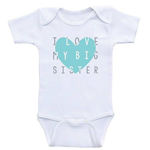 Heart Co Designs Big Sister Baby Clothes - I Love My Big Sister - Onesies (3mo-Short Sleeve, Mint Text)
