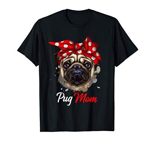 Mops Mama Pug Mom Hund Frauchen Muttertag Geschenk T-Shirt