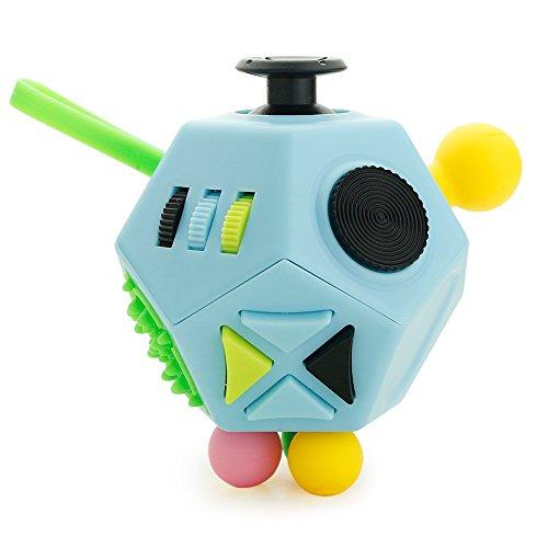 Fidget cubo II juguetes antiestrés actualizados 12 lados gadgets dodecaedro ayudan a reducir el estrés, la ansiedad, el nerviosismo o el tiempo de matar a los niños adultos con TDAH Autismo Azul claro