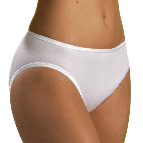 HERMKO 1031 Kit de Cinco Bragas, Hechas de algodón 100%, cuentan con la certificación Eco-Tex 100, Bragas con Cinta elástica, Farbe:Blanco, Größe Damen:48/50 (XL)